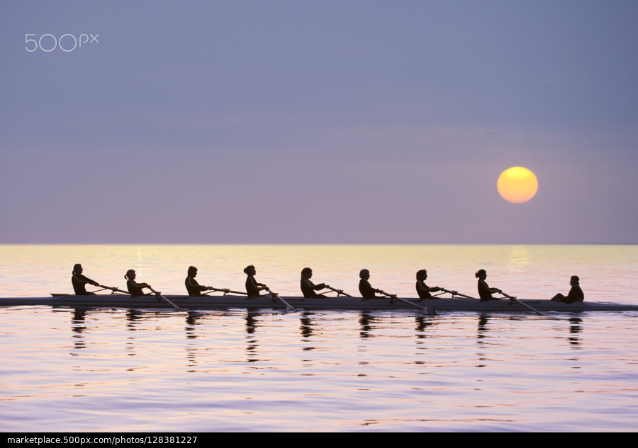 Silhouette of rowing team practising on still lake